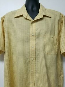 Towncraft-Wrinkle-Free-Mens-Yellow-Blue-Plaid-Size-XL-Button-Down-Shirt