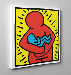Quadro-HARING-Maternita-Poster-Pannello-Stampa-su-Tela-Vernice-Pennellate