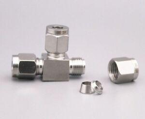 304-Edelstahl-Gerade-Union-T-Shirt-Kupplung-fuer-Schlauch-Od-3mm-25mm-amp-0-3cm