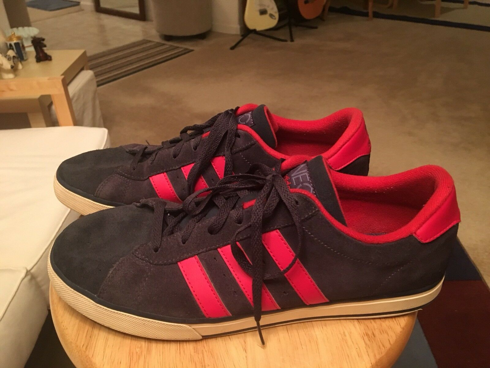 4bab96ed1 Adidas Neo Label Navy bluee Red Trim Men s US12 US12 US12 Suede Athletic  Sneakers shoes 9f58ff