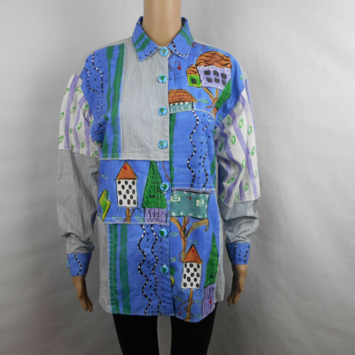 Silkscapes Handpainted Blue Striped Button Down To