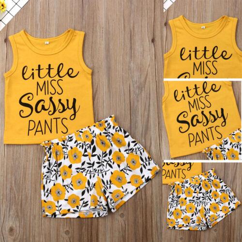 Toddler Kid Girl Clothes Summer Sleeveless Sassy Tops+Shorts Pants Outfit Set