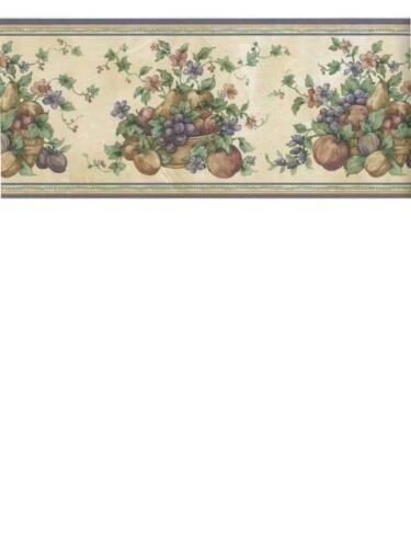 FRUIT AND FLORAL BASKETS //BOWLS PURPLE TRIM  WALLPAPER BORDER