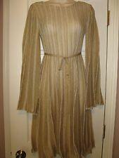 M Missoni Womens Gold Metalic Shimmer Knit Dress Sz I 46/US8/10