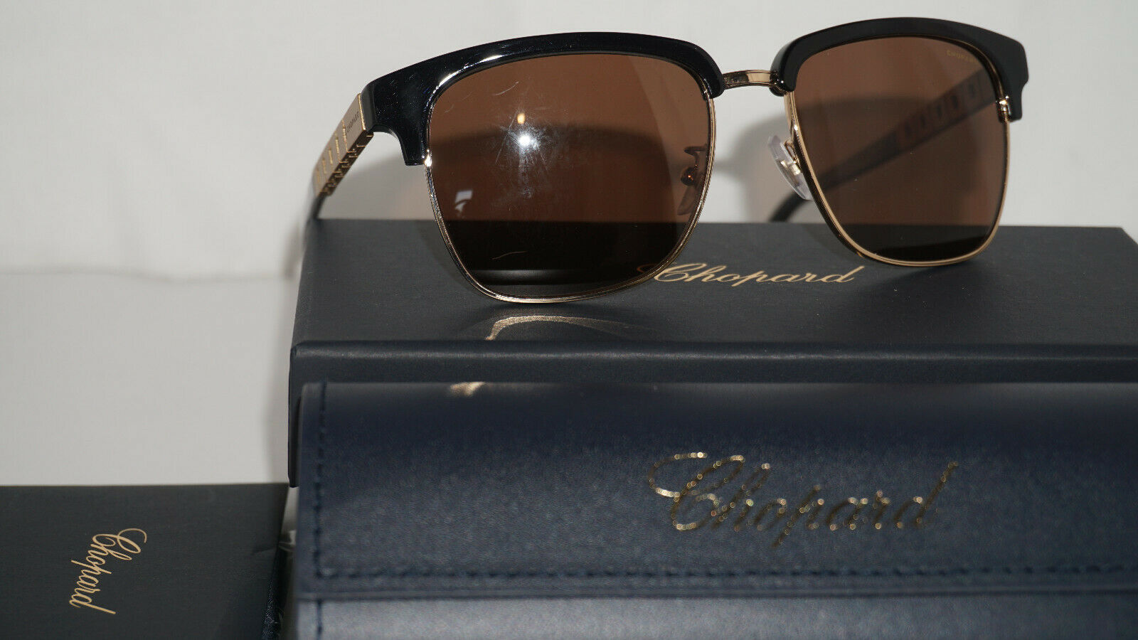 Chopard Sunglasses New Rose Gold Polished Brown Polarized SCHB30 300P 55 17 140