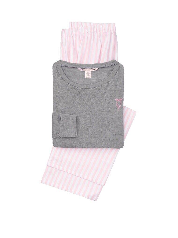 Victoria's Secret The Lounge Pajama Size XS Regular Iconic Stripe W  Grey Top