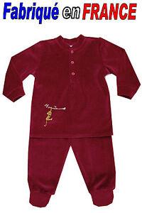 rayé parme GHIMI Pyjama velours à pieds  2 pièces de 2 ans à 8 ans NEUF
