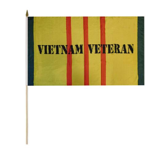 "12 Pack Vietnam Veteran Yellow Service Ribbon 100D 12/""x18/"" Stick Flag 30/"" Staff"