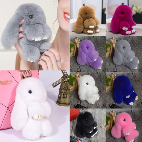 Cute Bunny Rabbit Fur Pom Doll Phone Car Pendant Handbag Keychain Bag Accessory