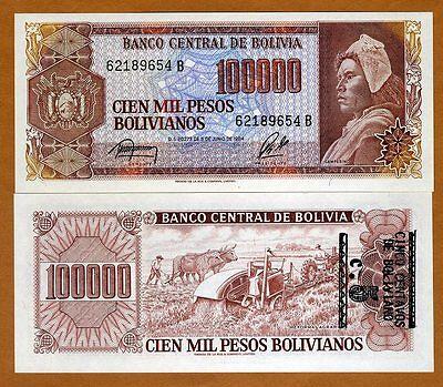 P-196A 10 centavos on 100,000 Pesos Bolivanos ND UNC /> ERROR 3 Bolivia 1987