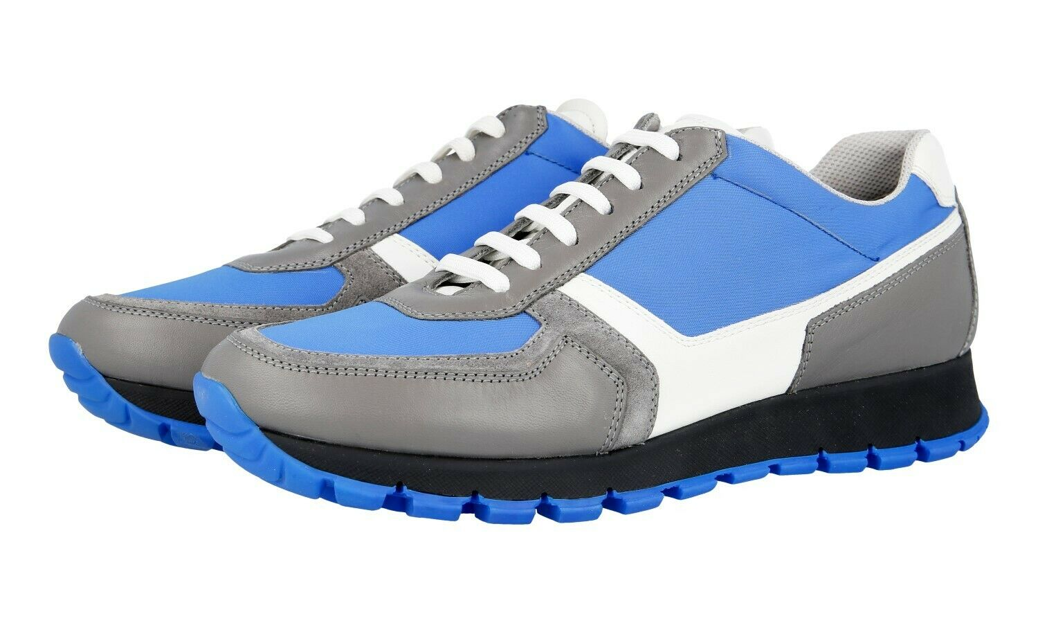 AUTH PRADA SNEAKERS SHOES 3E6026 GREY blueE LEATHER + NYLON US 8