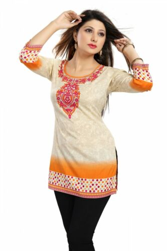 Indian Bollywood Short Red Orange Printed Tunic Tops Blouse Kurtis for Women new