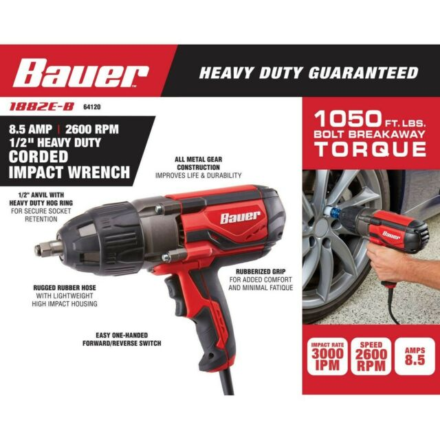 Bauer 1/2 in Heavy Duty Extreme Torque Impact Wrench Corded 1050 ft lb 2600  RPM