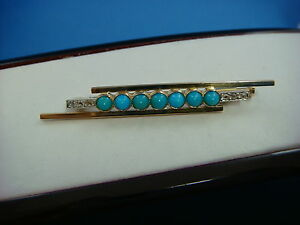 ! ANTIQUE 18K GOLD TURQUOISE AND ROSE CUT DIAMOND BROOCH, 4.8 GRAMS