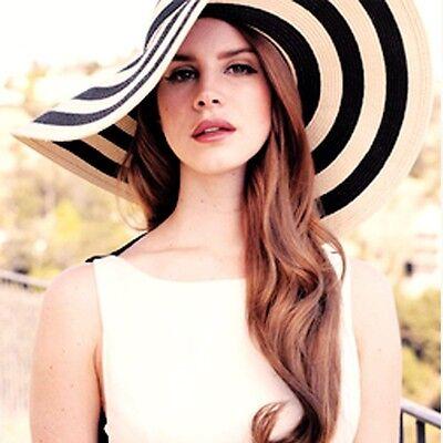 Lady Floppy Derby Hat Wide Brim Hat Straw Striped Beach Hat Sunhat #012