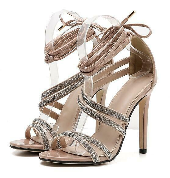 Fashion Wouomo Lace Up Stiletto Sandals Rhinestone Party Runway scarpe US 4.5-9