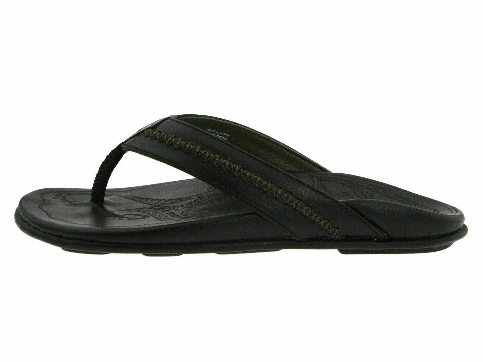 Olukai mea ola Negra Sandalia de cuero superior de hombre 10138-4040