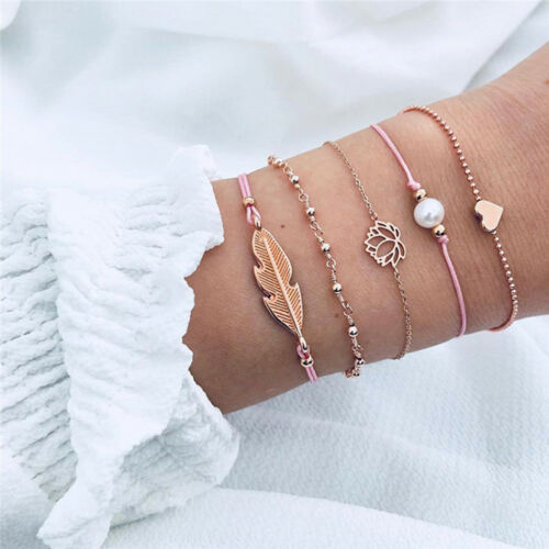 5Pc Set Bohême Bracelet Coeur Lotus Plume Chaîne Manchette Bijoux Femme Cadeau