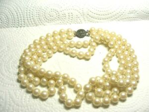 Vtg-Sterling-Silver-Double-Strand-Pearl-Necklace