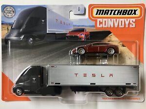 Red  Model S 2020 MATCHBOX TESLA  Semi /& Box Trailer CONVOY