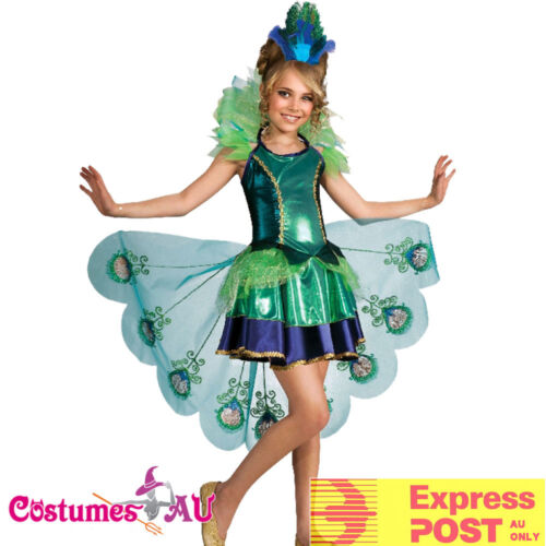 Peacock Girls Costume Child Animal Bird Halloween Book Week Party Showgirl Kids