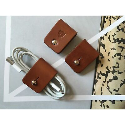 Personalised Leather Cable Tidy Ties x 3 - Made in England