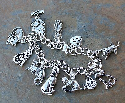 Love My Cat Charm Bracelet Pewter