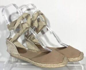 8b6f2f74e75 Details about J Crew Sardinia Espadrilles 7 Womens Lace Up Natural Beige  Canvas Sandals