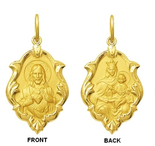 18k Gold Scapular Medal Small Lady of Carmel with heart of Jesus