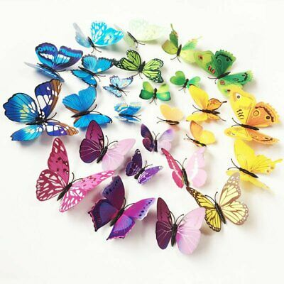 12//24Pcs 3D Colorful Butterfly Wall Stickers Art Decal Room Decoration DIY Decor