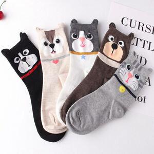 Fashion Women Cute Cartoon Cat Pattern Casual Socks Cotton Mid Tube Sock