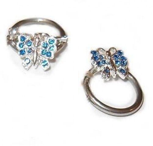 Silver Saphire Blue Color Crystal Nipple CBR 14g Chain