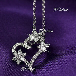 18K-WHITE-GOLD-GF-MADE-WITH-SWAROVSKI-CRYSTAL-FLOWER-HEART-PENDANT-NECKLACE