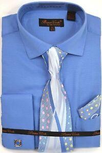 Men-039-s-Dress-Shirt-Tie-Hanky-Set-Solid-Blue-Cuff-Links-French-Cuff-Spread-Collar