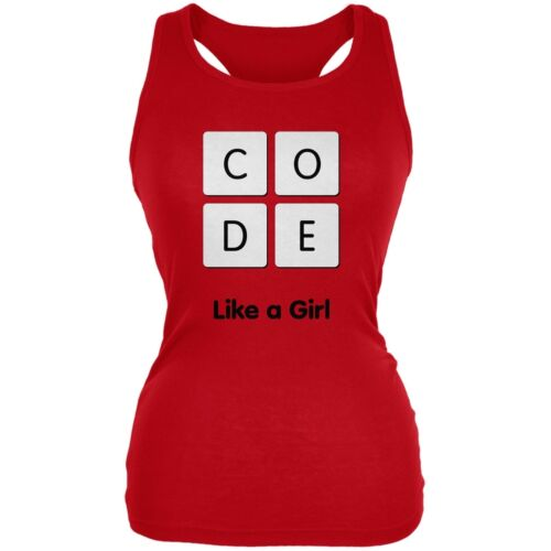 Code Like a Girl Red Juniors Soft Tank Top