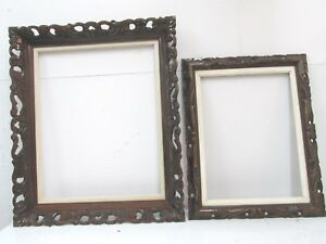 Picture Frames 2 Lot Vintage Walnut Mohagany Stain Picture Wood Frames Carved Lattice