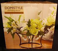 Domistyle Metal & Glass Centerpiece 4 Glass Vases Great Gift