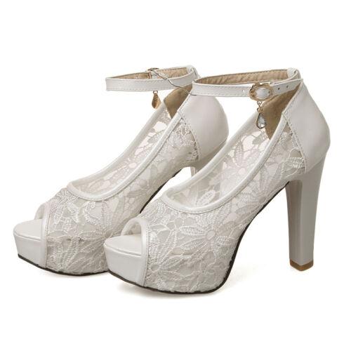 Womens Lace Peep Toe Ankle Straps Block Heel Sandals Summer Bridal Shoes Plus Sz
