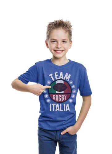 Team Italy Boys /& Girls Rugby Retro TShirt Six 6 Nations Kit Strip Top Tee Gift