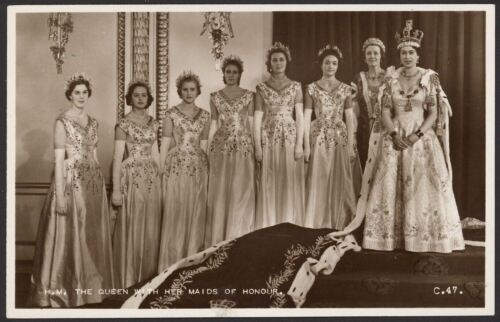 The Coronation. H.M. The Queen With Her Maids of Honour Real Photo Postcard