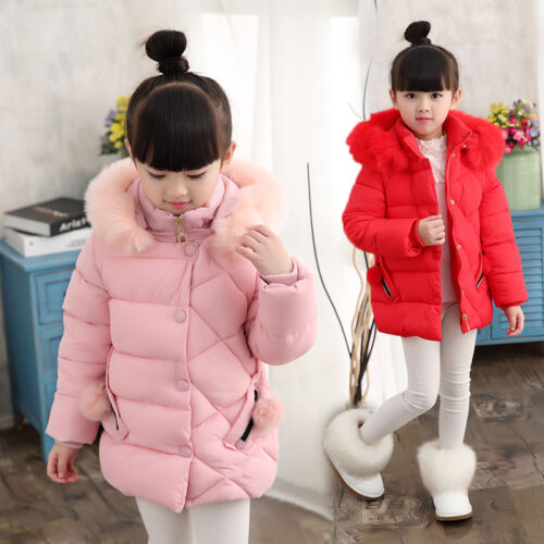Kids Girls Winter Thick Cotton Down Jacket Hooded Quilted Padded Warm Coat Top