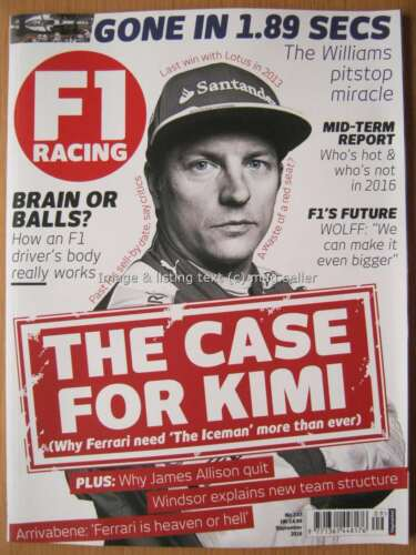 1 of 1 - F1 Racing September 2016 Kimi Raikkonen Carlos Sainz Williams Arrivabene Arrows