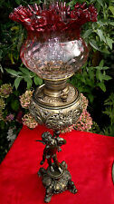 "Rare C1892 Antique Miller Banquet Oil Lamp Figural Cherub Cranberry Shade 33"""