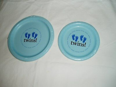 Baby Boy Twins Paper Plates 8 Ct Choice Of 2 Sizes Baby Shower Party 0 S H Ebay