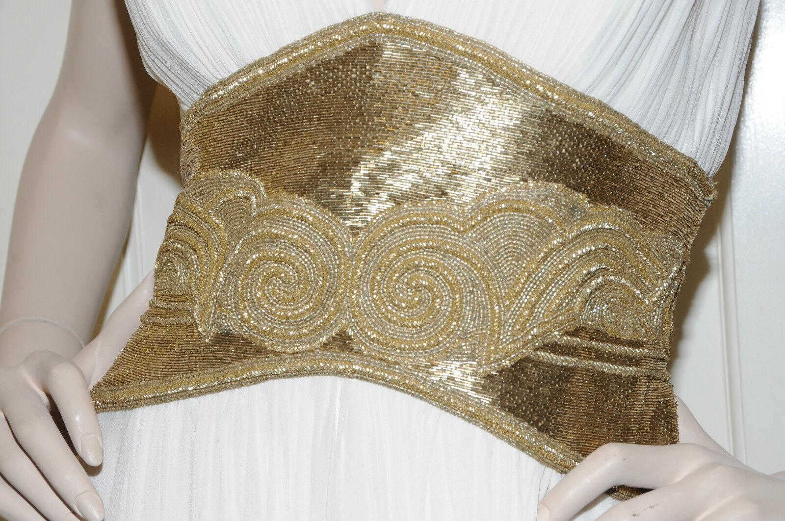 Nuovo Marchesa Couture Latteo oro Bianco Ingioiellato Abito Abito Abito da Sera Abito 10 e3077e