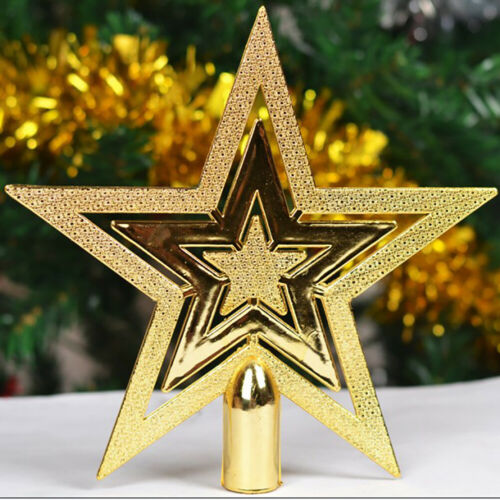 ZK/_ BH/_ Merry Christmas Ornaments Tree Topper Glitter Star Outdoor Home Decor