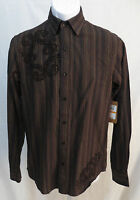 Vintage Red Mens Size S Long Sleeve Button Front Striped Shirt Graphic