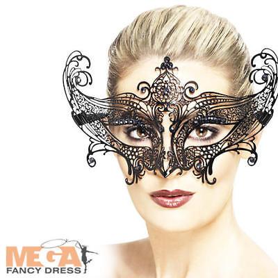Accurato Farfalla In Metallo Filigrana Maschera Occhi Nera Da Donna Halloween Costume Maschera-mostra Il Titolo Originale Elevato Standard Di Qualità E Igiene