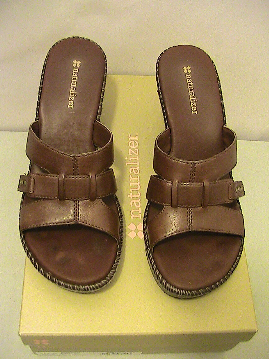 NATURALIZER TRAPPER ~ SIZE 8 M ~ WEDGE BROWN LEATHER OPEN TOE WEDGE ~ SANDALS SHOES be570a