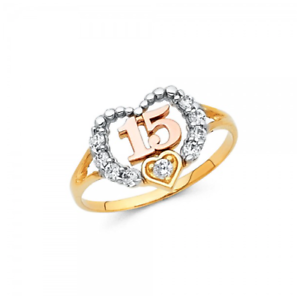 14K-Solid-Yellow-Gold-CZ-Heart-Sweet-15-Ring-Love-Quinceanera-Anos-Birthday-Band